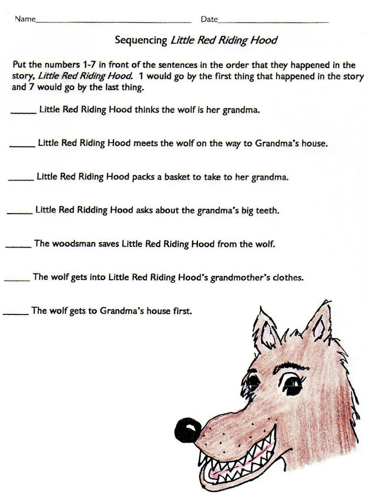 Sequencing Little Red Riding Hood
