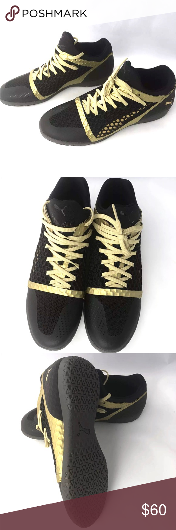 605dec91e Puma 365 Ignite Netfit CT Indoor Soccer Shoes Style #104474 09 Black and  gold New without box Puma Shoes Athletic Shoes
