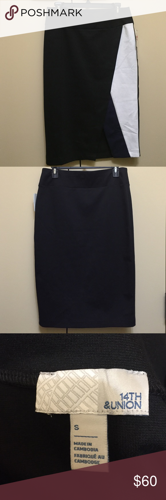 14th & Union Black Combo Pencil Skirt 14th & Union Black Combo Pencil Skirt is a perfect addition to your fall wardrobe! Soft and stretchy material. Black with navy and white along left side seam. Pair it with some nude pumps and a sweater for the office or a nice cami and some booties for date night! No trades. Price is firm. NWT 14th & Union Skirts Pencil