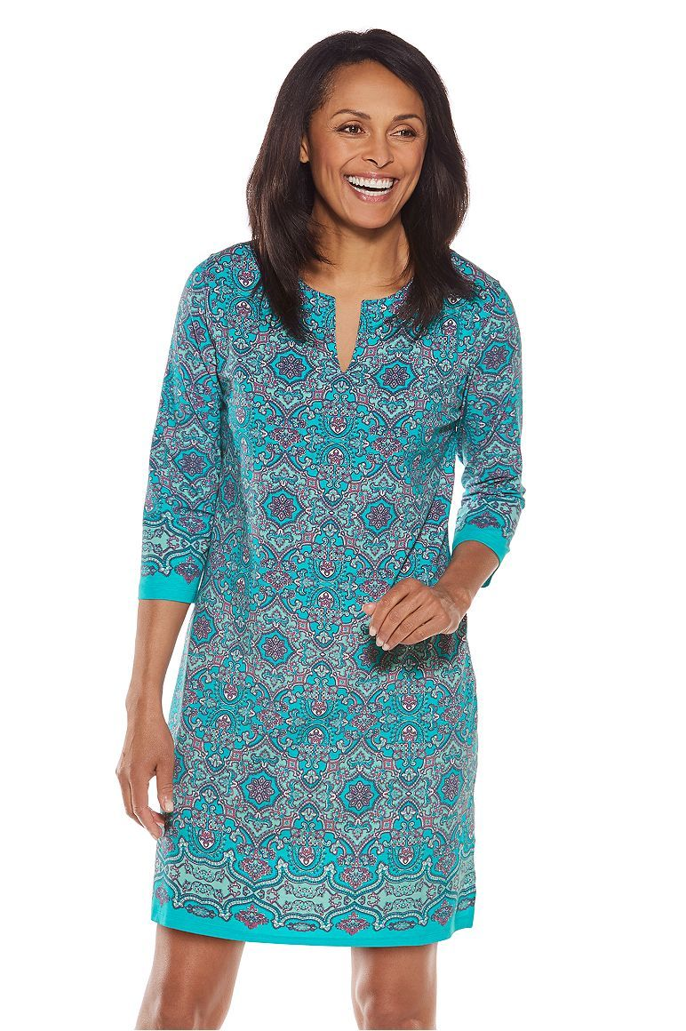 68f201a51de Oceanside Tunic Dress  Sun Protective Clothing - Coolibar - Pool party  riviera medallion