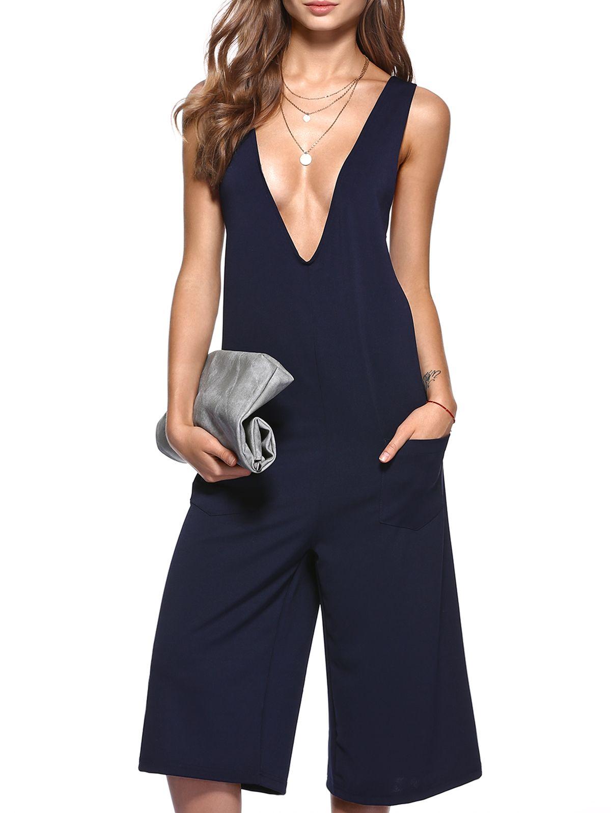 Simple plunging neck pocket design wide leg jumpsuit wide legs
