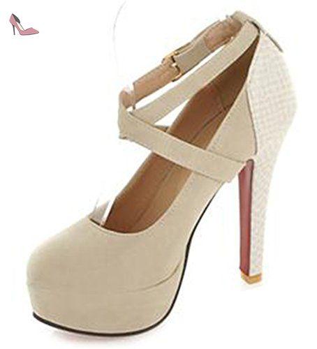 Chaussures à bout rond à fermeture éclair beiges Sexy femme xCR66Zs9