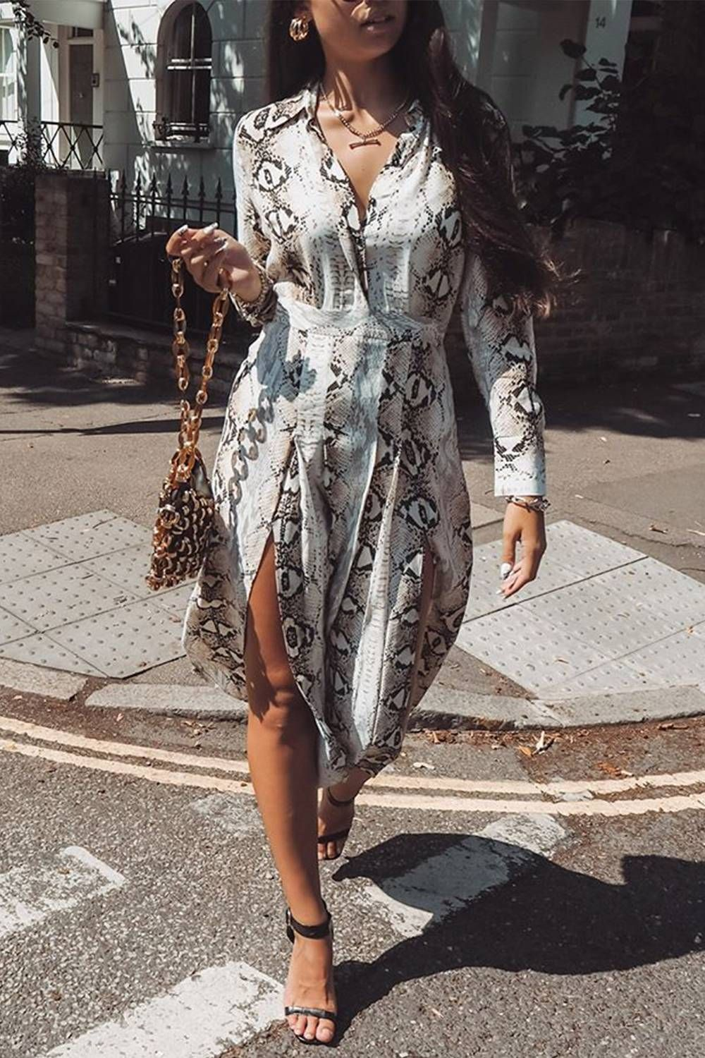 0086a4c6abdf Everyone in London is Wearing Topshop's Snake Print Dress | Who What Wear UK
