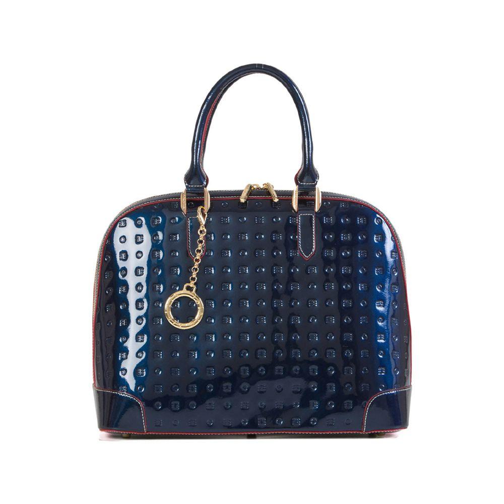 6f4e9df2bc Attavanti - Arcadia Milano Leather Patent Bowling Grab Bag - Blue ...