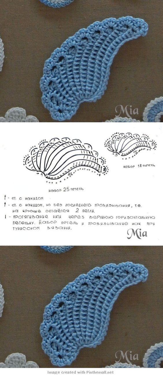 Gehäkeltes Flügel-Motif (mit russischer Anleitung + Diagramm). Sooo schön! #irishcrochetflowers
