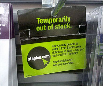 Out Of Stock Back Tag Fixtures Close Up Tags Signage Stock