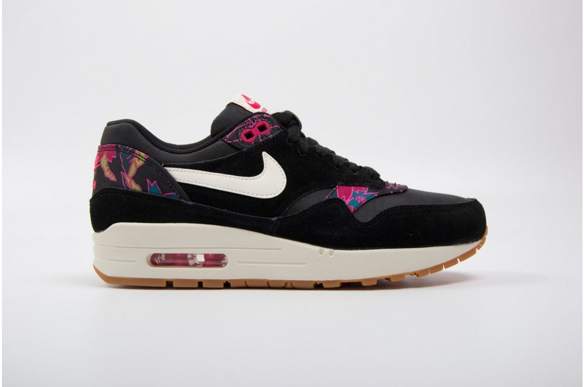 Nike Wmns Air Max 1 Print Black Pink 528898 004 Air Max Air Max 1 Air Max Sneakers