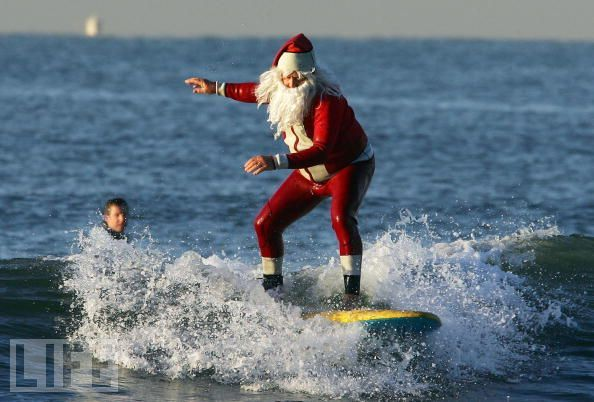 Santa at Seal Beach, California