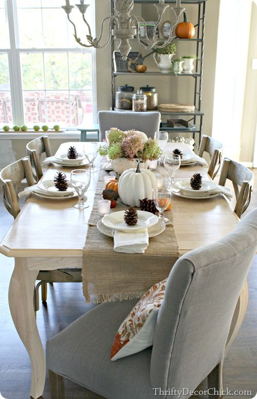 New White Centerpieces for Dining Room Table