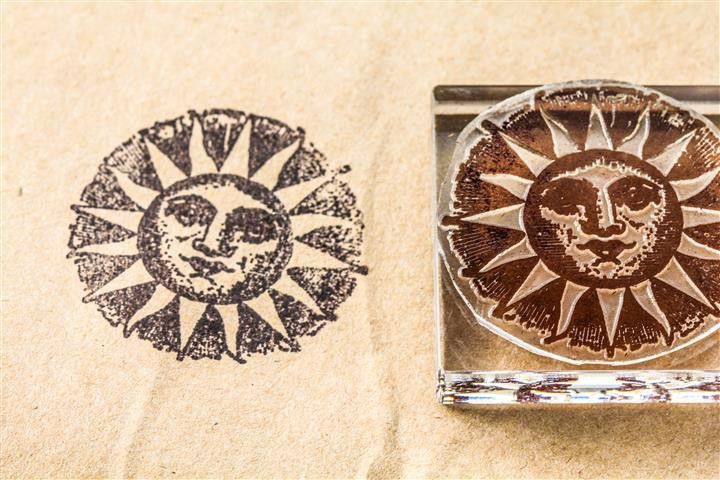 "Sun, with Smiling """"Man in the Sun"""" #1 - 2 x 2 Inch Stamp"