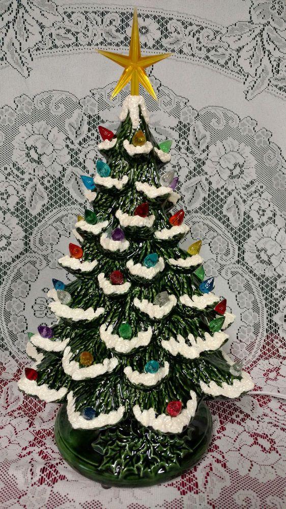 """Ceramic Christmas Tree Lighted 14"""" Nowell Vintage Mold"""