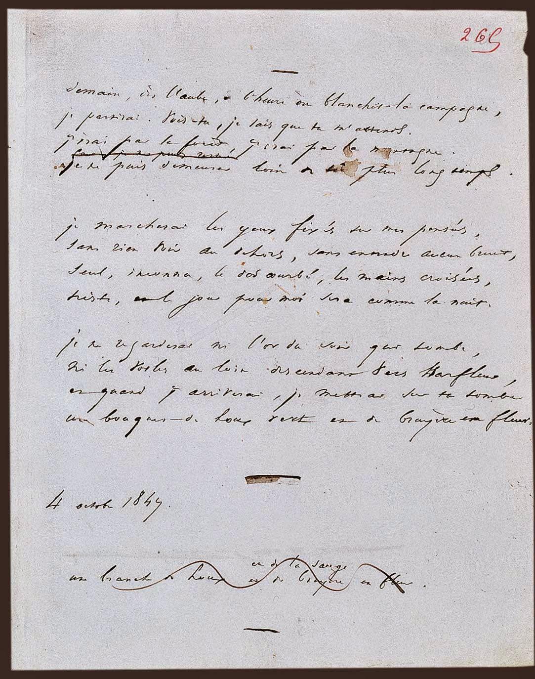Manuscrito Del Poema Demain Dès Laube De Victor
