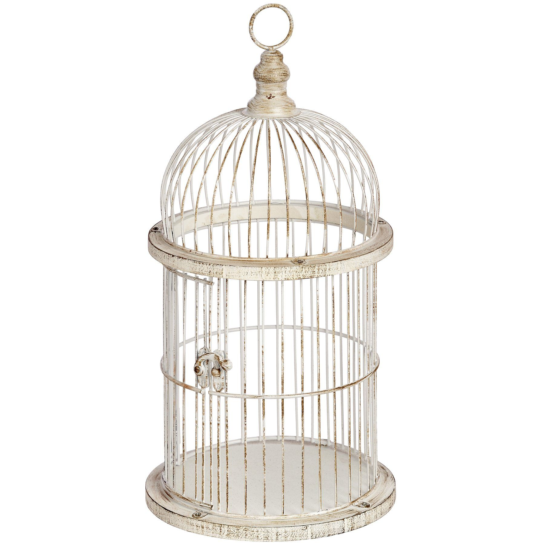 Decorative Vintage Style Birdcage Candle Holder A Beautiful Antique White Bird Cage The Mildly Distressed Finish Creates