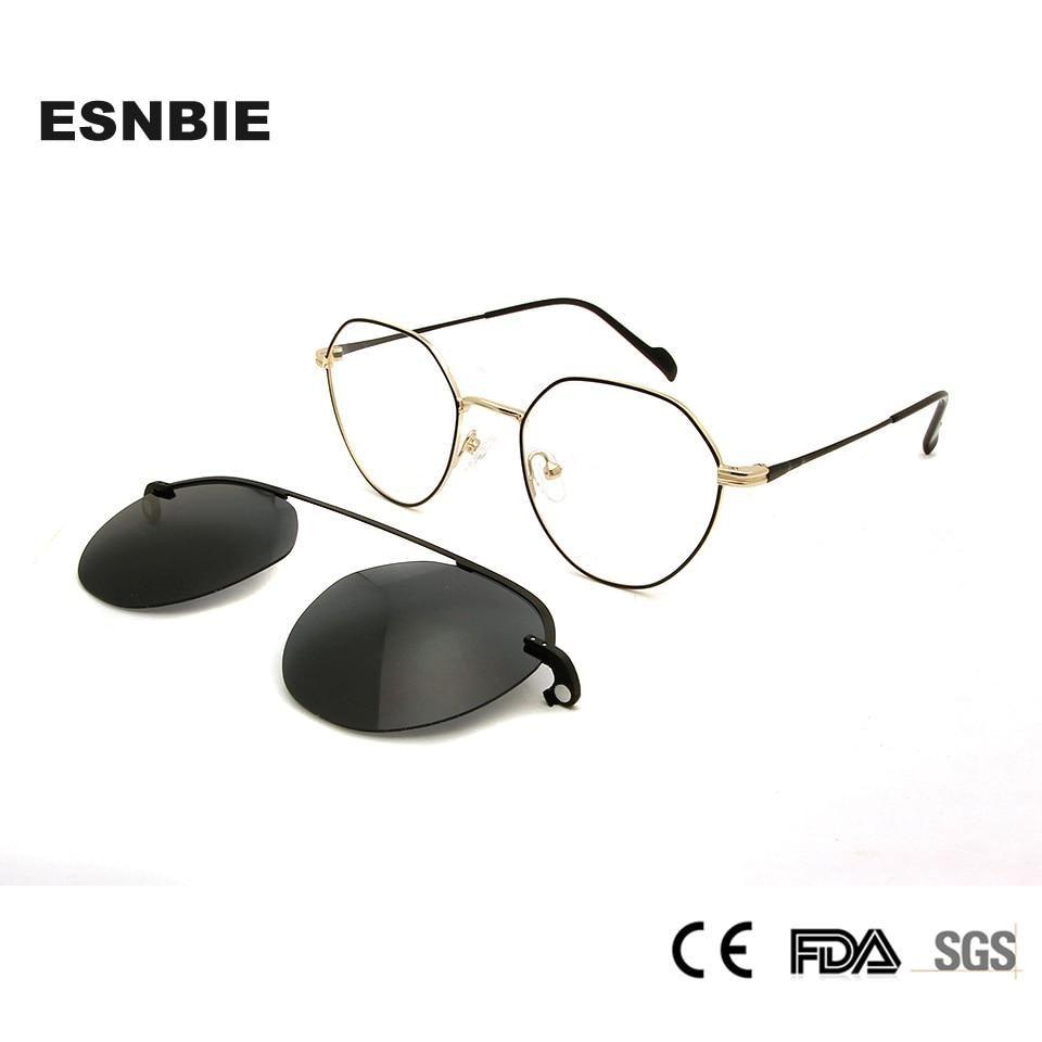 Womens Korean Glasses Frames Round Magnet Clip On Sunglasses Glasses Myopia Women Eyeglasses
