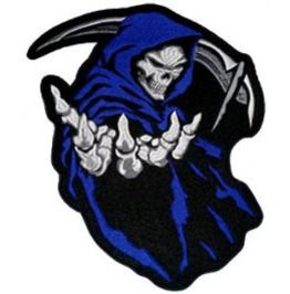 Angel Of Death Blue Shield Patch Grim Reaper Skull Patches