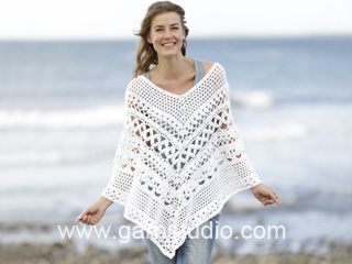 "Light's Embrace - Crochet DROPS poncho with lace pattern, worked top down in ""Paris"". Size S-XXXL. - Free pattern by DROPS Design"