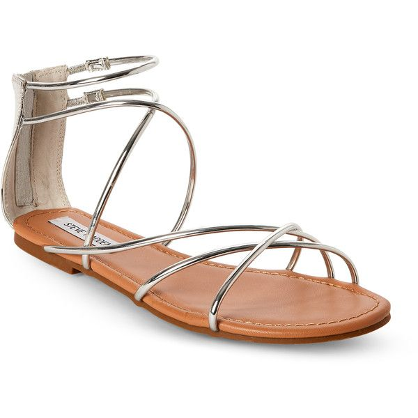 2c3011bb46 Steve Madden Silver Sapphire Strappy Flat Sandals ($25) ❤ liked on Polyvore  featuring shoes