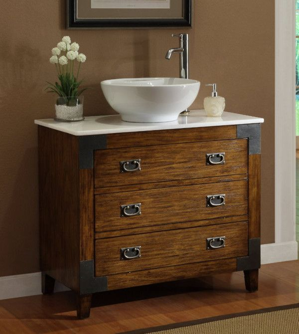 Furniture Astonishing Antique Bathroom Vanity Vessel Sink With Teak Wood Dresser Including Wrought Iron Drawer Ring Pulls And Flat Corner Bracket Under