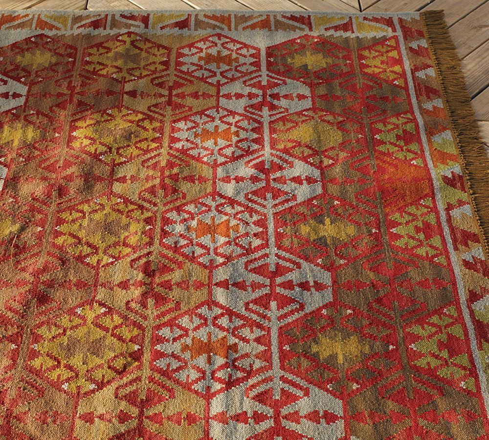 Outdoor Kilim Rug Made Of Recycled Yarn #RoughRugs. Coming