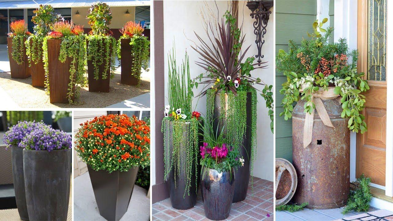50 Elegant Tall Flower Pot Ideas Garden Ideas Backyard