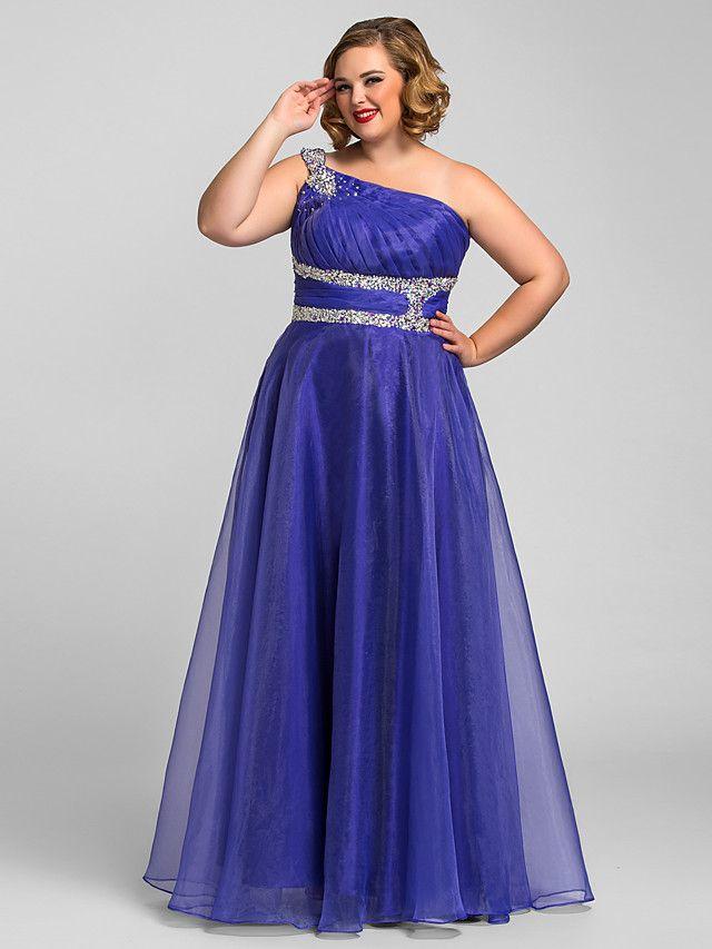 Una línea de vestido de bola princesa un hombro piso longitud ...