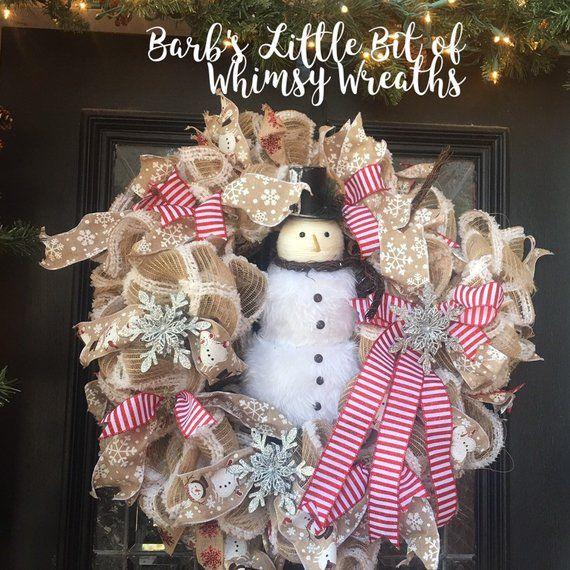 Ready To Send Christmas Wreath Snowman Wreath Front Door Wreath