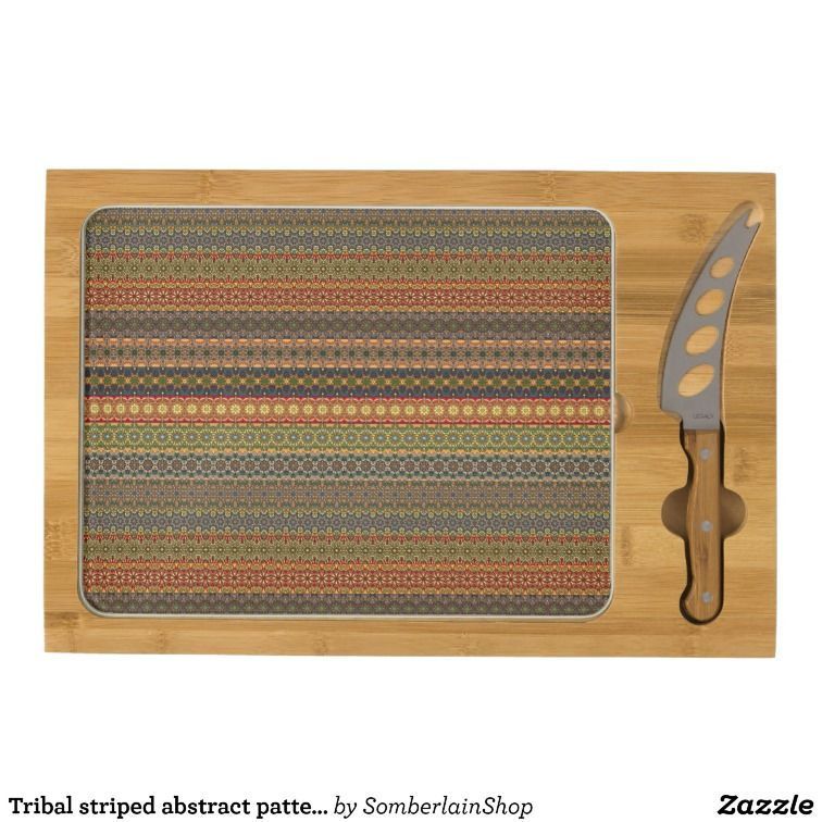 Tribal striped abstract pattern design cheese platter
