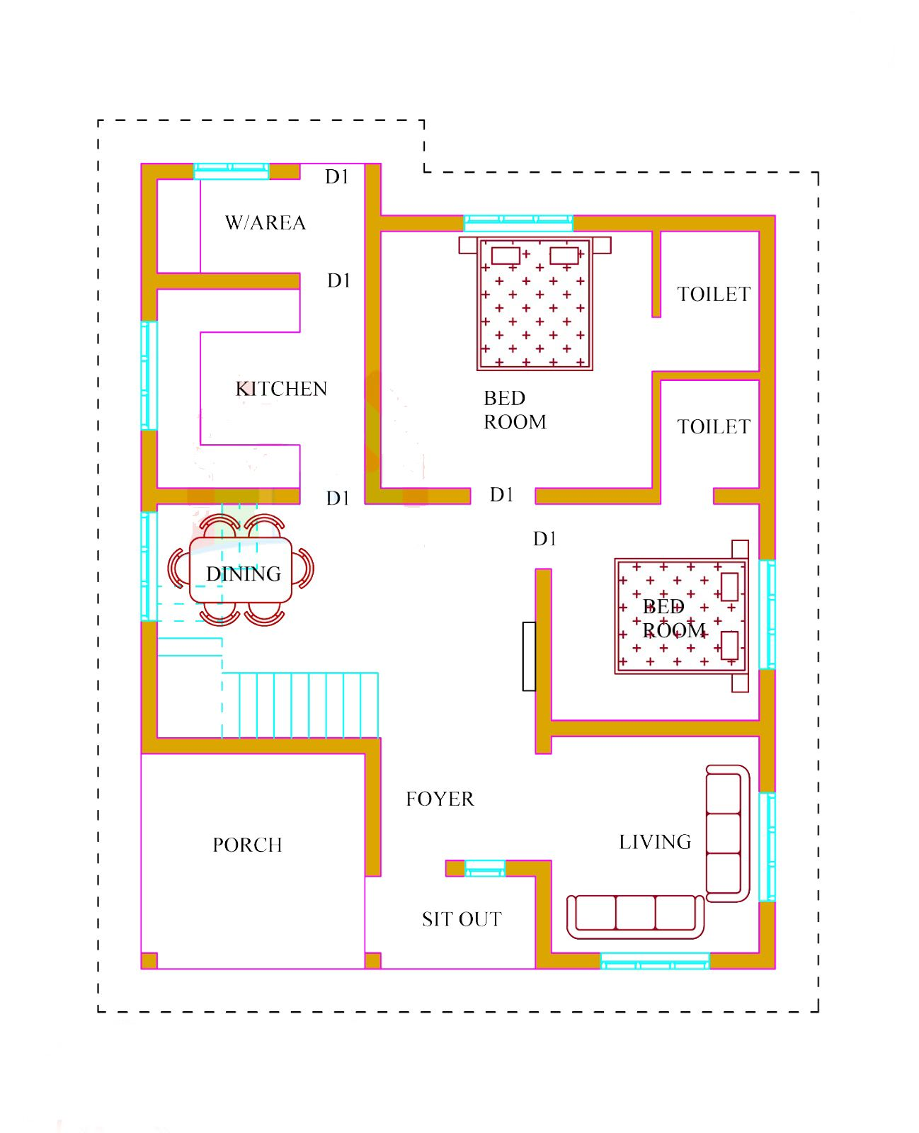 Kerala house plans with estimate 20 lakhs 1500 for Low cost per square foot house plans
