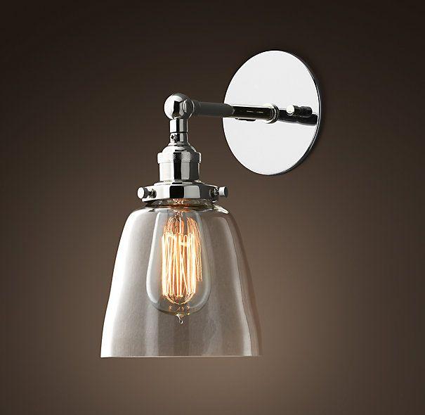 Restoration Hardware Discontinued Lighting: Glass Cloche Filament Sconce Polished Nickel- Restoration