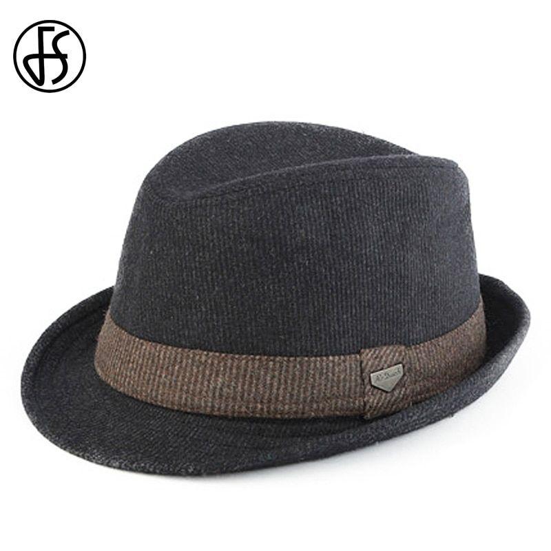 FS Black Gray Striped Trilby Hat For Men Vintage Wool Felt Fedora Hats  Autumn Winter Wide Brim Gentleman Jazz Caps Chapeau Homme 50ff09b6445d