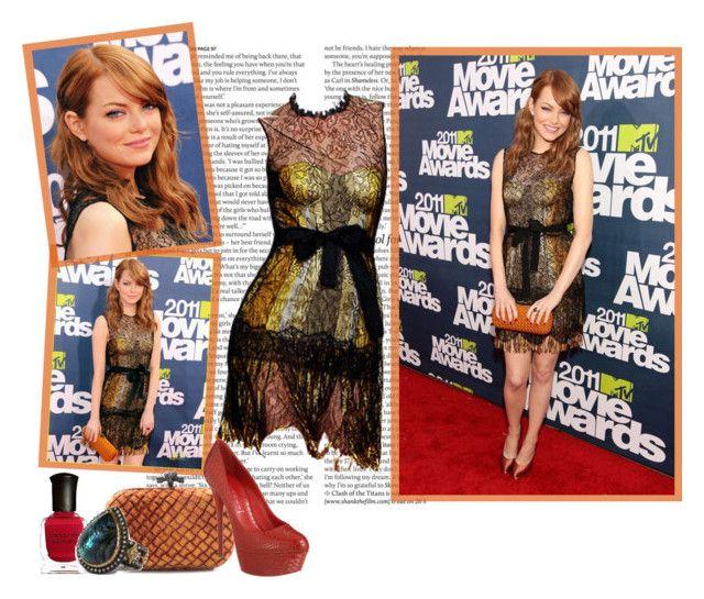 2011 MTV Movie Awards~ Emma Stone by snugget9530 on Polyvore featuring mode, Casadei, Bottega Veneta, Armenta, Deborah Lippmann and ASOS