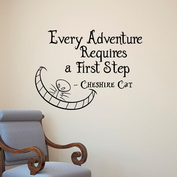 alice in wonderland wall decal cheshire cat every adventure requires a first step quote vinyl. Black Bedroom Furniture Sets. Home Design Ideas