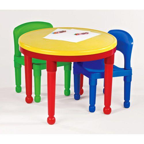 Toddler Playroom Table Set 3 Pc Plastic Chairs Kids Activity Bedroom Furniture Tottutors Kids Table Chair Set Kids Table And Chairs Kids Play Table