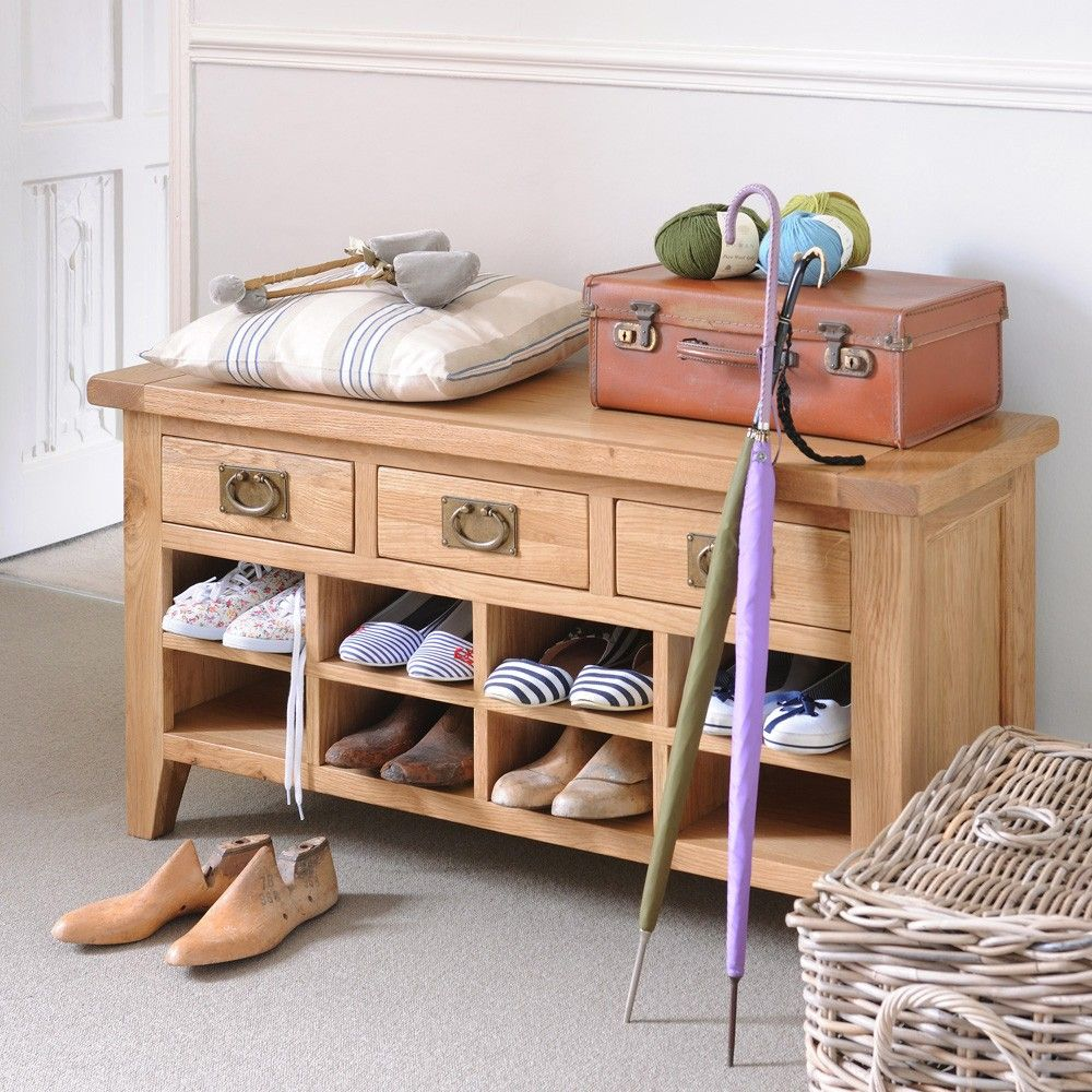 Montague Oak Shoe Cabinet with Drawers