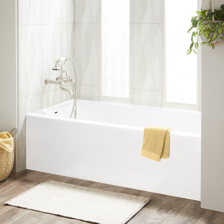 60 X 30 Orchid Acrylic Alcove Tub Soaking Tub Shower Combo Japanese Soaking Tubs White Tub