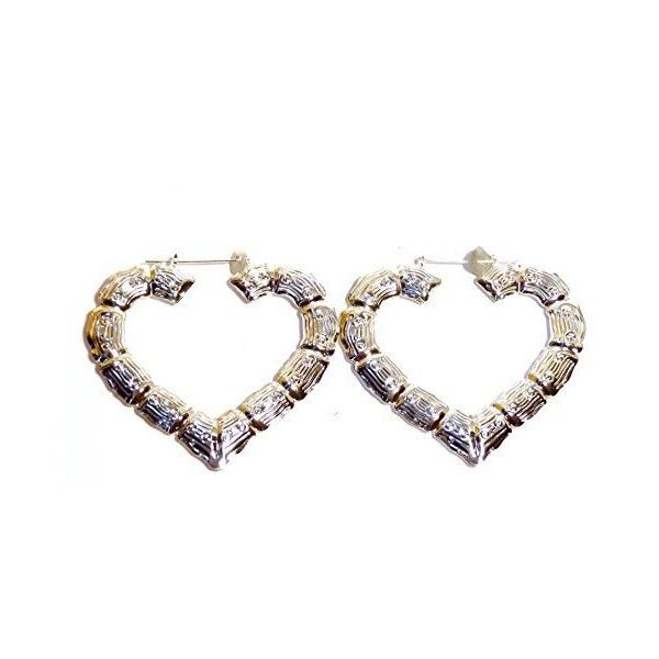 Bamboo Hoop Earrings Heart Earrings Silver Tone 3.5 Inch Bamboo ...