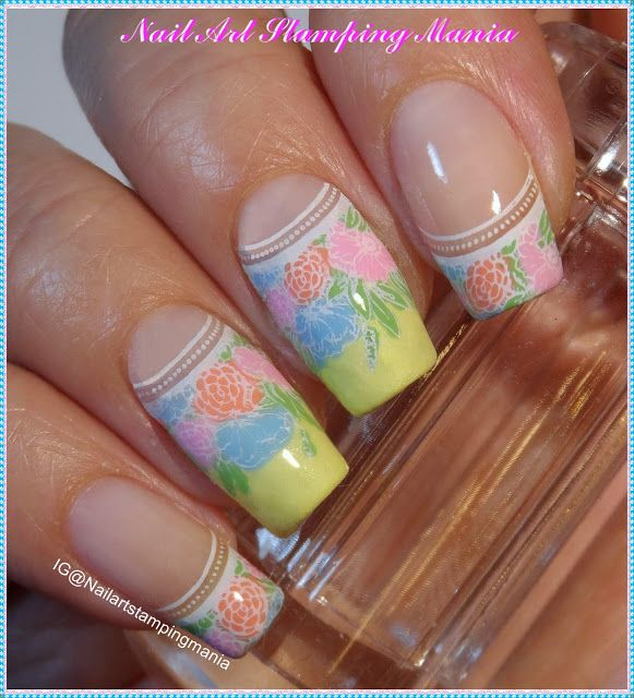 Nail Art Stamping Mania: French Manicure with UberChic Beauty Paris in Love - Tutorial. What a beautiful french manicure with nail art! The flowers are perfect for a summer or spring manicure that is elegant and Uber Chic!