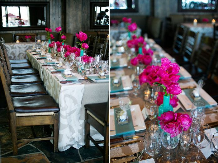 Turquoise Fuchsia Wedding: Breathtaking Tahoe Wedding In Turquoise, Fuchsia, And