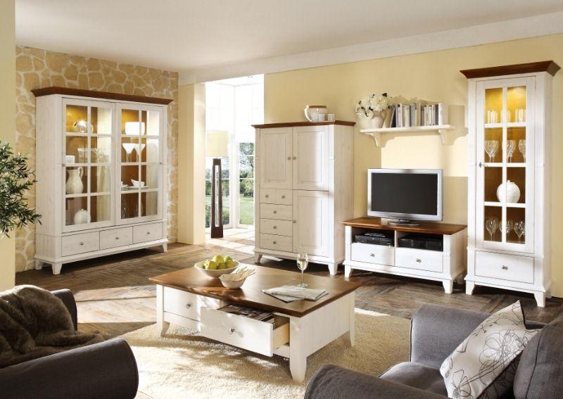 Wohnwand Mit Couchtisch Pinie Massiv Weiss\/ Cognac Woody 155-00013 - wohnzimmer landhausstil ideen