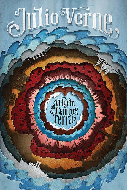 Une très belle affiche toute en relief pour le Voyage au centre de la terre de Jules Verne.
