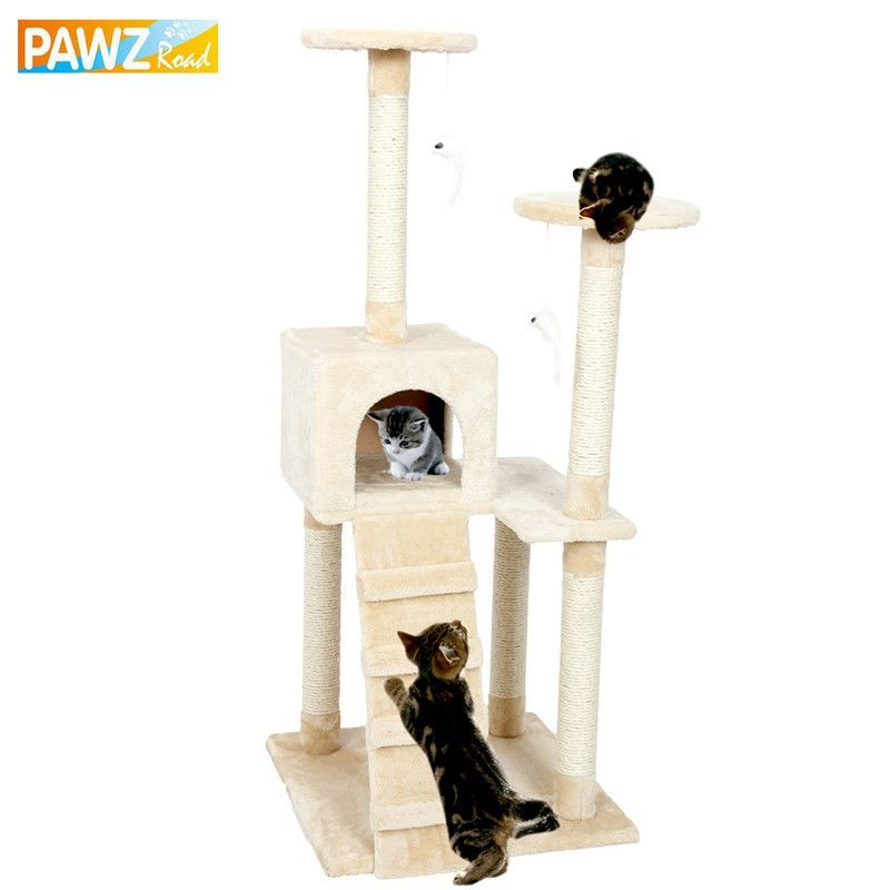 Cat Climbing Tree Cat Fun Scratching Solid Wood Cats Climb Frame ...