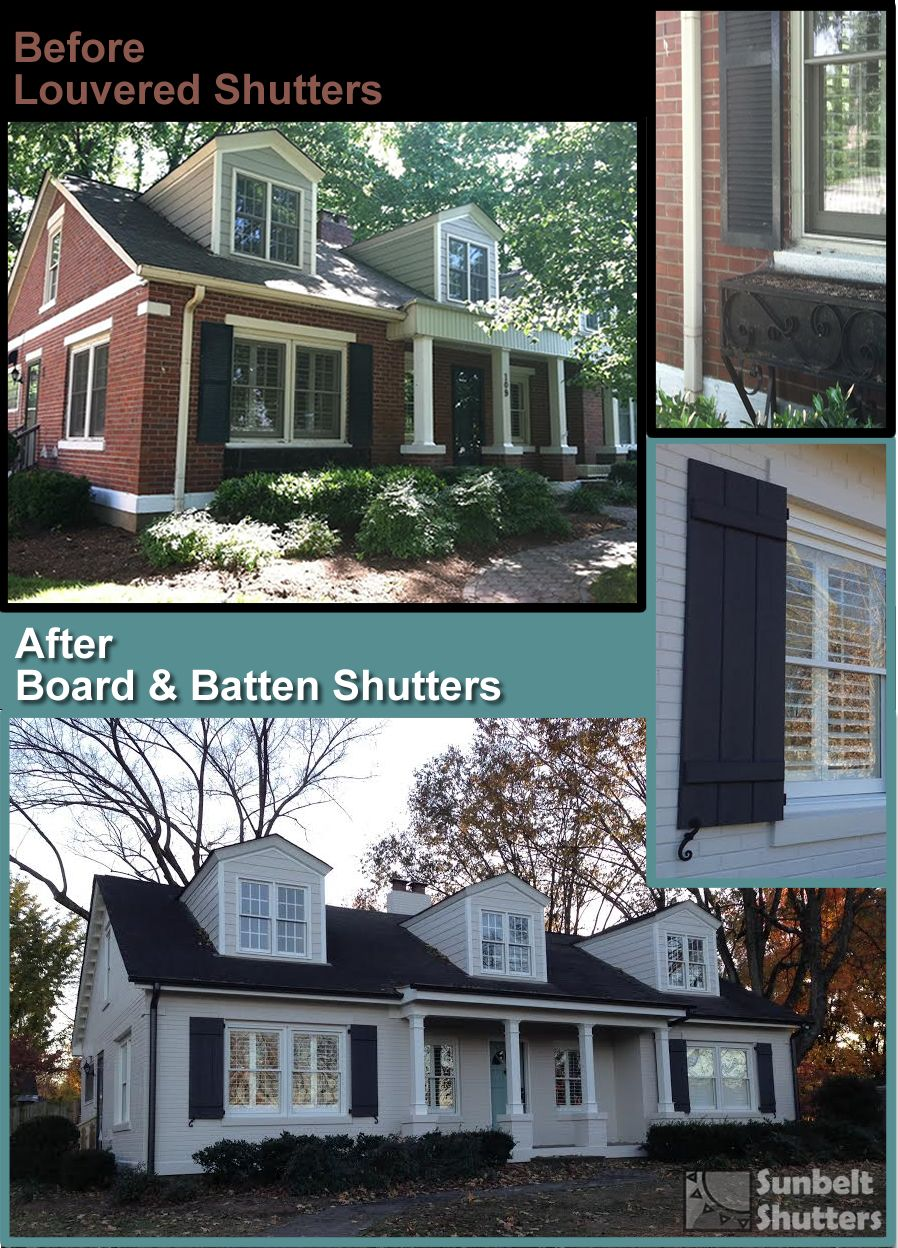 Before After Exterior Makeover New Shutters Are Rough Sawn Cedar Board Batten Shutters Exterior Louvered Shutters House Exterior