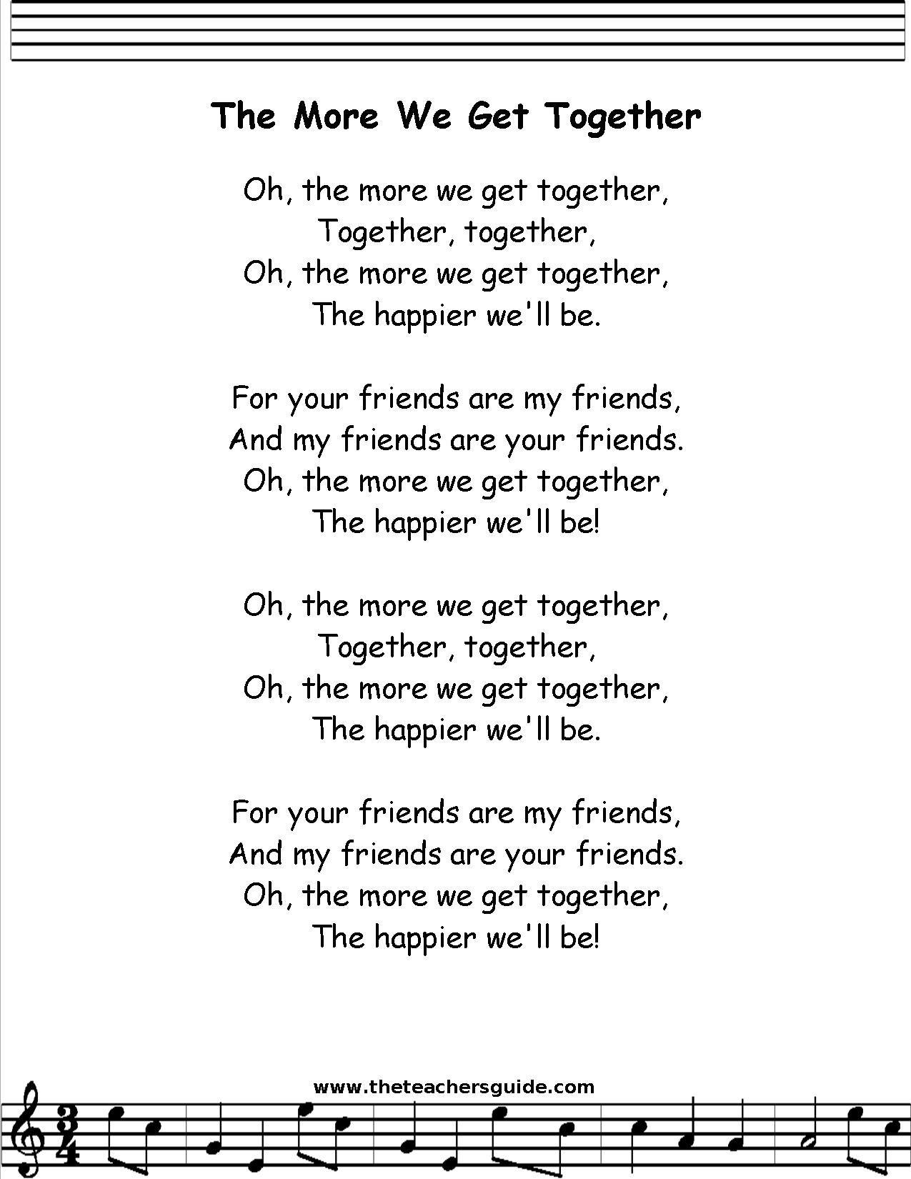 the more we get together lyrics the more we get together lyrics