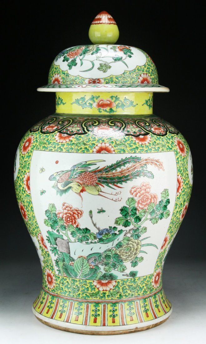 Massive Chinese Antique Famille Verte Porcelain Vase With Cover Of