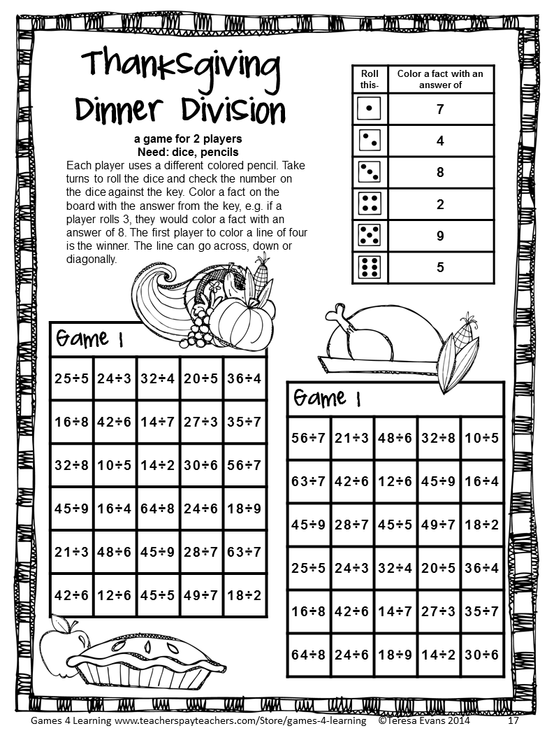 Thanksgiving Math Games Fourth Grade: Fun Thanksgiving Activities ...