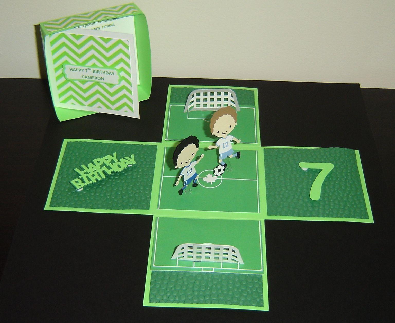 Exploding box birthday card. Soccer field theme. Cricut