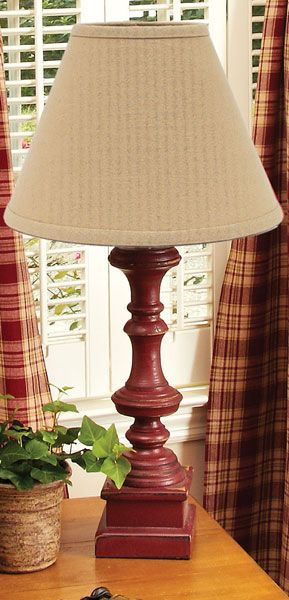 Check Out The Deal On Covington Red Wooden Table Lamp At Primitive Home  Decors