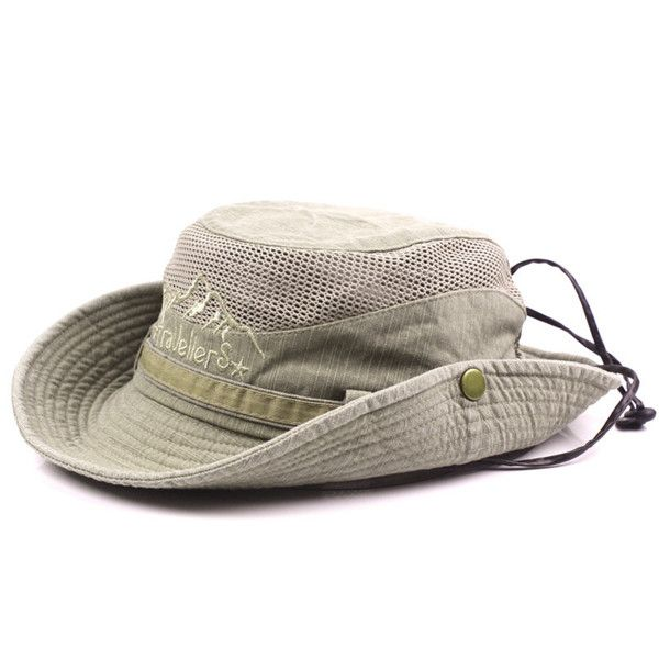 1c918df078c Mens Cotton Embroidery Bucket Hats Fisherman Hat Outdoor Climbing Mesh  Breathable Sunshade Cap