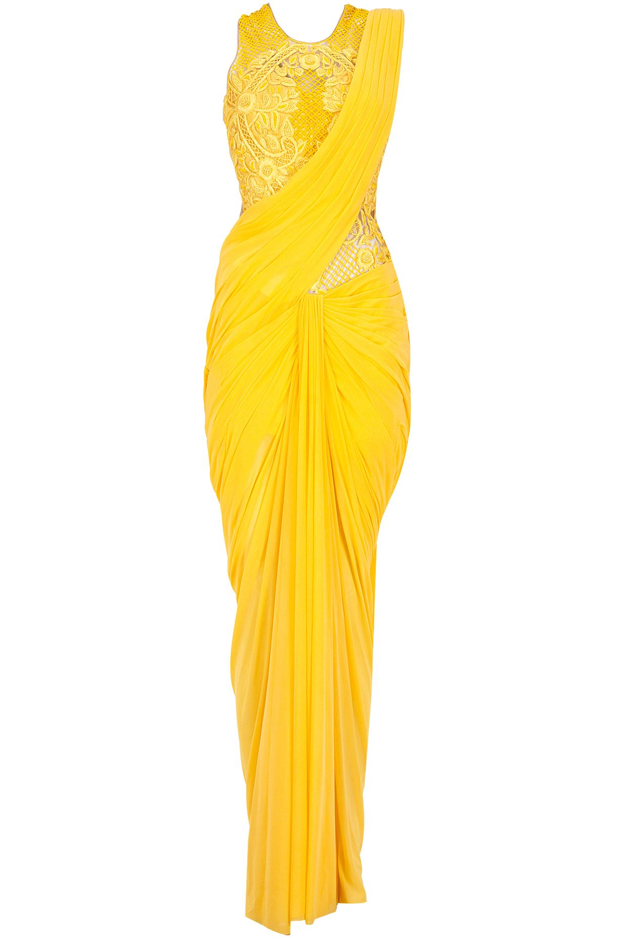 Yellow embroidered cowl drape pre stitched sari-gown available only ... for Drapes Clothes  303mzq