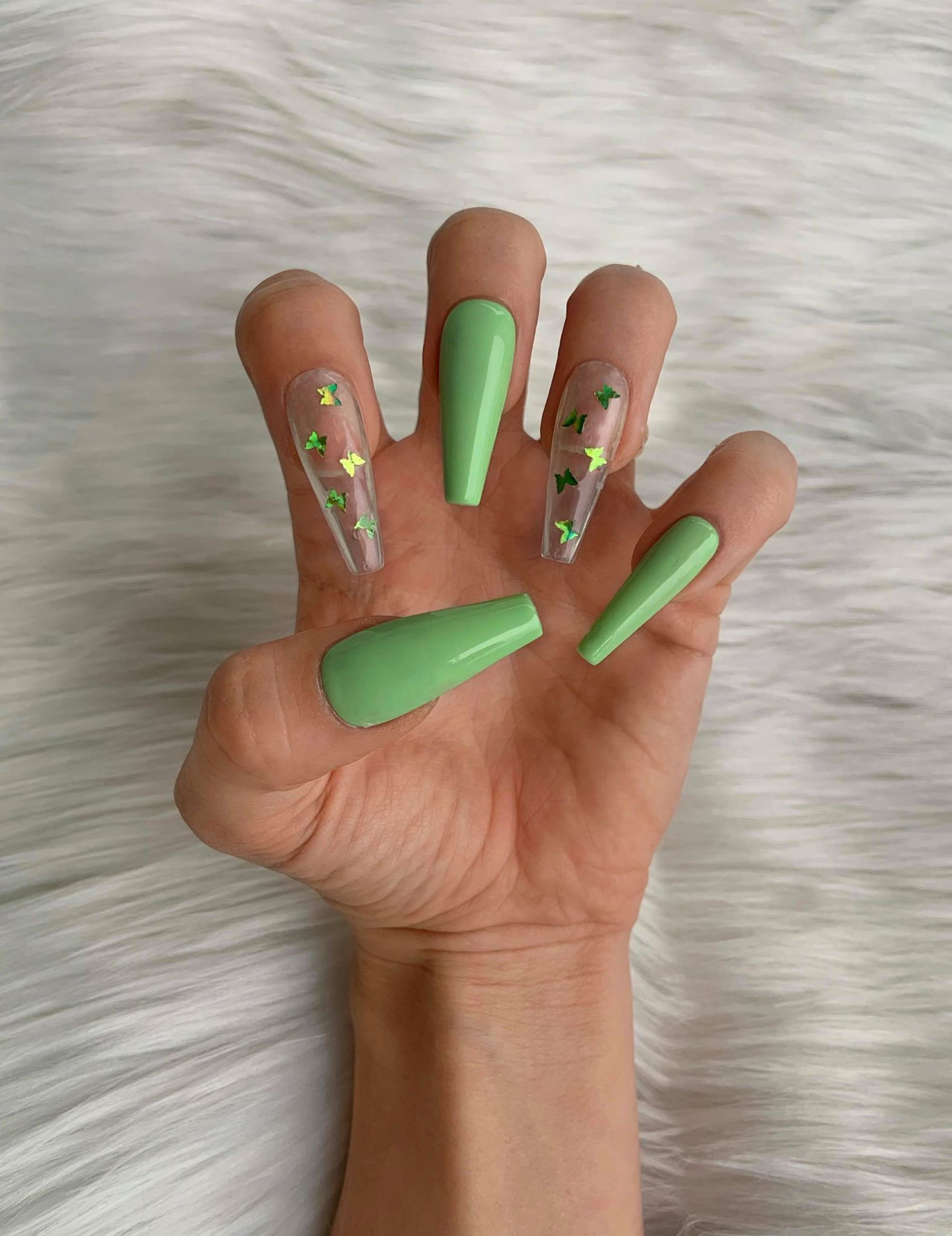Mint Green Butterflies Luxury Press On Nails Matte Or Glossy Custom False Nails Long Ballerina Coffin Fake Nails In 2020 Press On Nails Green Butterfly Fake Nails
